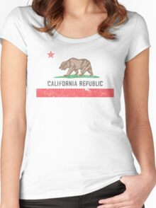 Vintage California Flag Women's Fitted Scoop T-Shirt
