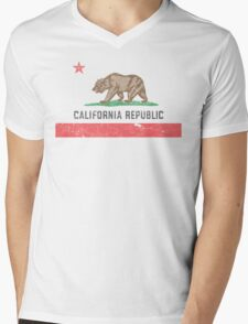 Vintage California Flag Mens V-Neck T-Shirt