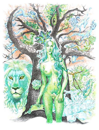 Earth ( tree nymph ) / pen by jatujeep
