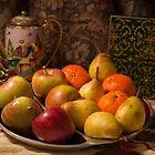 Still life - bowl of fruit. by David Tovey