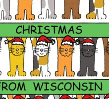 Cats in Santa hats Happy Christmas from Wisconsin. Sticker
