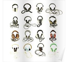 classic retro headphone collection Poster