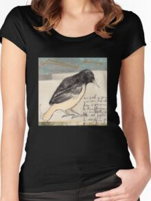 Black Bird Singing Women's Fitted Scoop T-Shirt