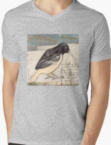 Black Bird Singing Mens V-Neck T-Shirt