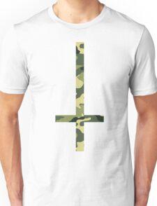 90's Grunge Upside Down Camouflage Cross  Unisex T-Shirt