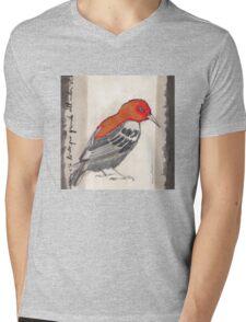 Black & Red Think Mens V-Neck T-Shirt