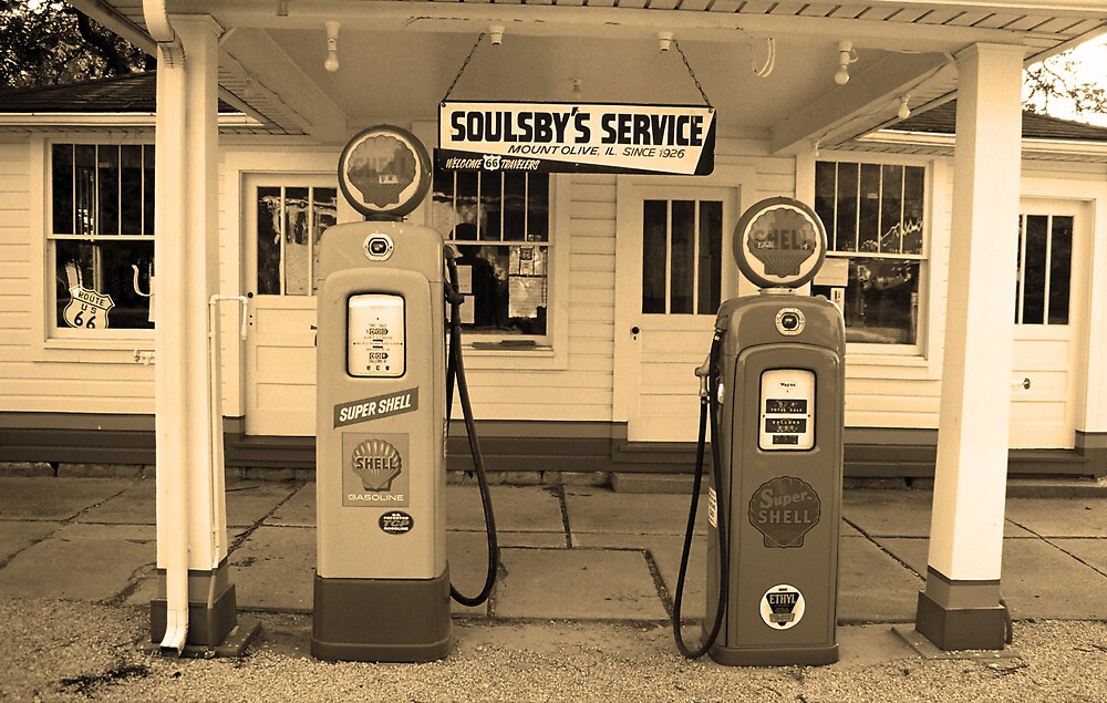 Route 66 - Soulsby Station Pumps by Frank Romeo