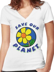 """Earth Day """"Save Our Planet"""" Women's Fitted V-Neck T-Shirt"""