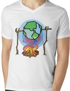 Global Warming Earth Day Mens V-Neck T-Shirt