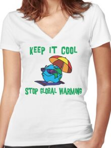 """Earth Day """"Keep It Cool - Stop Global Warming"""" Women's Fitted V-Neck T-Shirt"""