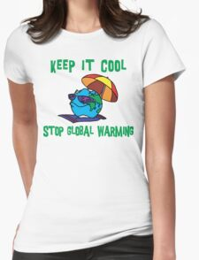 """Earth Day """"Keep It Cool - Stop Global Warming"""" Womens Fitted T-Shirt"""