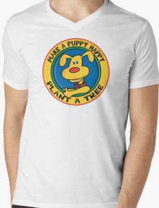 "Earth Day ""Make A Puppy Happy - Plant A Tree"" Mens V-Neck T-Shirt"