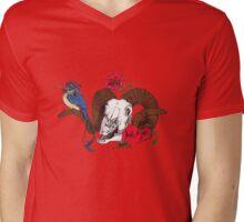 The Ram skull and bird in colour Mens V-Neck T-Shirt