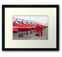 The Red Arrows parked at Kemble airfield Framed Print