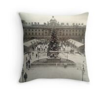 Somerset Square in the Snow Throw Pillow