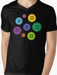 Rainbow Buttons Mens V-Neck T-Shirt