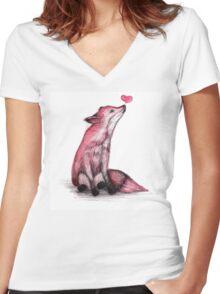 Fox Love Women's Fitted V-Neck T-Shirt