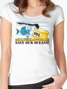 Earth Day Save Our Oceans Women's Fitted Scoop T-Shirt