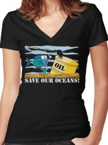 Save Our Oceans Earth Day Women's Fitted V-Neck T-Shirt