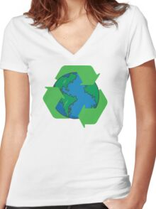 Recycle Earth Day Women's Fitted V-Neck T-Shirt