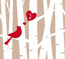 Valentine's Day Love Song with Red Cardinal in Birch Trees  by NestToNest