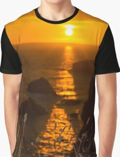beautiful sunset over the coastal rocks with wild highl grass Graphic T-Shirt