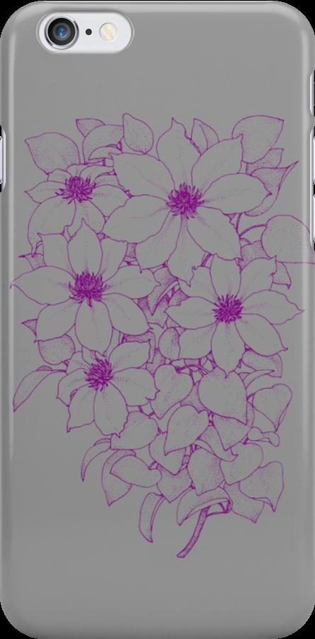 Purple Flowers - Gray by blaineweasleys