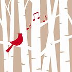 Joyful Song at Christmas, Cardinal Redbird in Birch Trees  by NestToNest