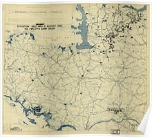 August 5 1944 World War II HQ Twelfth Army Group situation map Poster