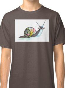 Funky Moustache Snail Classic T-Shirt