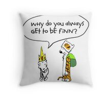 Calvin and Hobbe's Adventure Time Throw Pillow