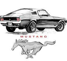Mustang Drawing T Shirt by JohnLowerson
