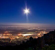 Moon Rising over Hobart by Julien Johnston