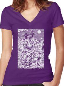 Ghoul Feeding (White)  Women's Fitted V-Neck T-Shirt