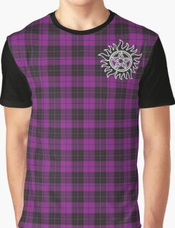 Supernatural Anti-possession symbol on PLAID in PURPLE Graphic T-Shirt