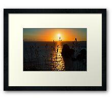 beautiful sunset over the virgin rock grass Framed Print