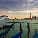 Cruise Ship Entering The Venice Lagoon at Dawn by kirilart