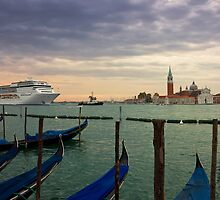 Cruise Ship Entering The Venice Lagoon at Dawn by kirilart