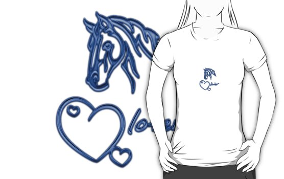 "Shirt-Design ""Horselover""- blue edit by scatharis"