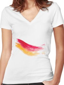 Colorful Watercolor Brush  Women's Fitted V-Neck T-Shirt