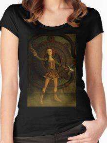 Anime Meets Steampunk Women's Fitted Scoop T-Shirt