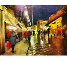 Rainy night, Ponte Vecchio, Florence, Italy Photographic Print