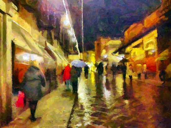 Rainy night, Ponte Vecchio, Florence, Italy by buttonpresser
