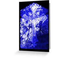 Blue Crucifix on Glass Window Greeting Card