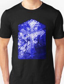 Blue Crucifix on Glass Window T-Shirt