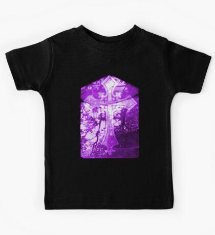 Purple Crucifix on Glass Window Kids Tee