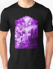 Purple Crucifix on Glass Window T-Shirt