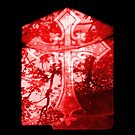 Red Crucifix on Glass Window by HazardousCoffee