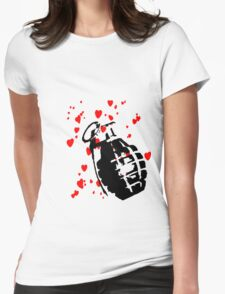 hearts and a hand grenade Womens Fitted T-Shirt