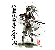 Female Samurai with Japanese Calligraphy 7 Virtues Photographic Print
